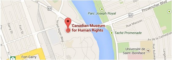 Screenshot of the location of Canadian Museum for Human Rights on Google Maps; the pin is located next to the Red River, at the intersection of Provencher Boulevard and Israel Asper Way.