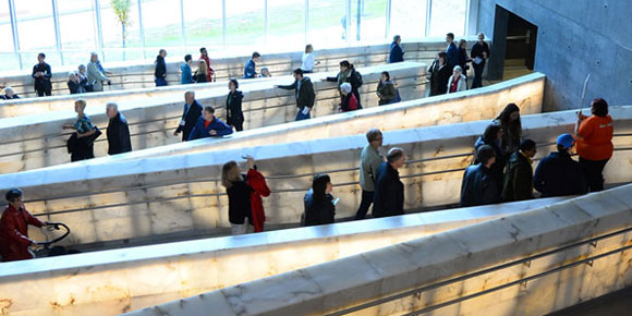 People walking on the Museum's ramps