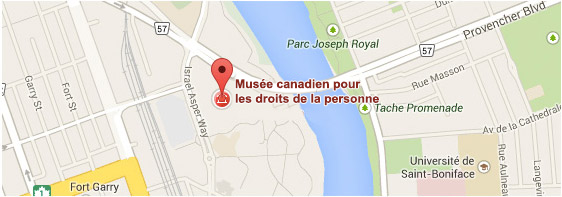 Capture d'écran de l'emplacement du Musée canadien pour les droits de la personne sur Google Maps; l'épingle se trouve à côté de la rivière Rouge, à l'intersection du boulevard Provencher et de l'Israel Asper Way.